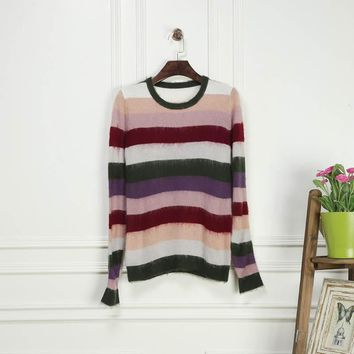 Europe Brand 2016 Winter&Spring Newest Silk Cotton O-Neck Full Sleeve Pullovers Striped Patchwork Fashion Sweater Women