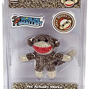 Sock Monkey Doll Miniature Edition- Original, Pocket-Sized Toy by World's Smallest