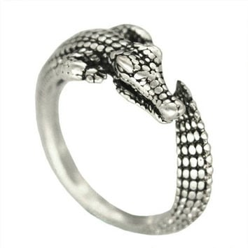 Adjustable Crocodile Ring - Statement Ring - Stackable Ring - PREORDER