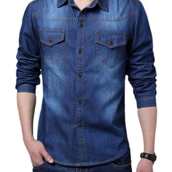 Acitylife Plus Size Long-Sleeve Men's Denim Shirt