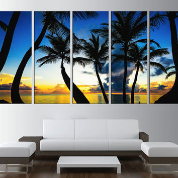 Tropical beach wall art canvas print, sea sunset wall art, beach wall art, extra large wall art, palm beach canvas print wall art,  t199