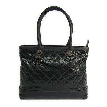 Chanel Women's Leather Coated Canvas Tote Bag Black BF315511