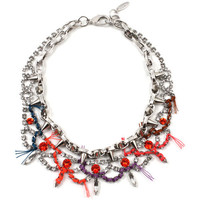Electric Dream Crystal & Spike Necklace W/ Thread Details - Crystal/ Orange/ Pink Lavender Multi
