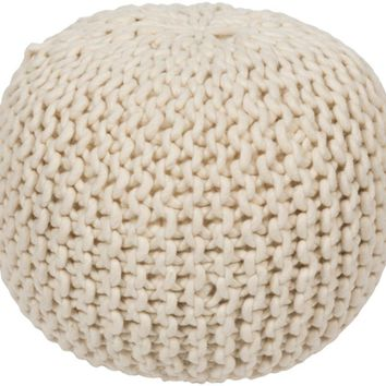 Surya Tan Cable Knit Pouf POUF-78