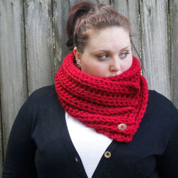 Extra Chunky Crochet Button Scarf, Ribbed Two Way Scarf, Crochet Infinity Scarf, Crochet Scarf in Cranberry Red, The Rockland Scarf