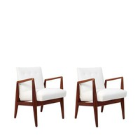 Pair of White Modern Danish Armchairs by Jens Risom