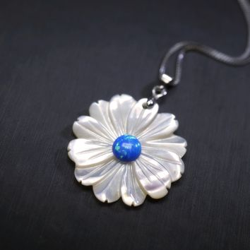 Blue Opal White Flower Necklace - Sterling Silver Genuine Rainbow Mother of Pearl Shell Necklace - Dainty Opal Pendant