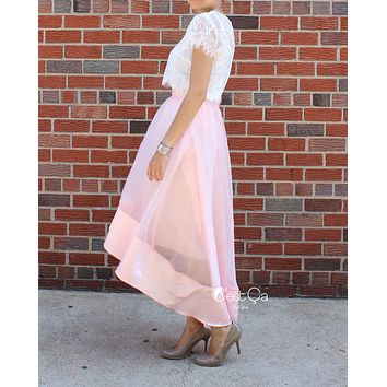SAMPLE Donna Blush Pink High-Low Satin Organza & Tulle Skirt (size 10/12)
