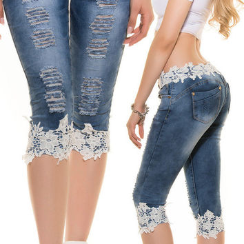 Low Waist Lace Ripped jeans