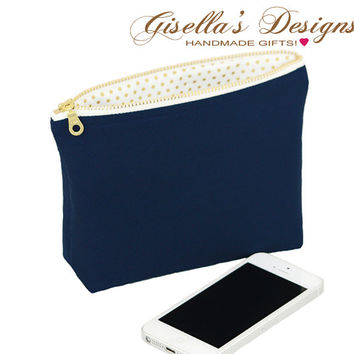 Navy and gold Small zipper clutch, Large Zippered Purse, Custom made bag, choose your favorite color.