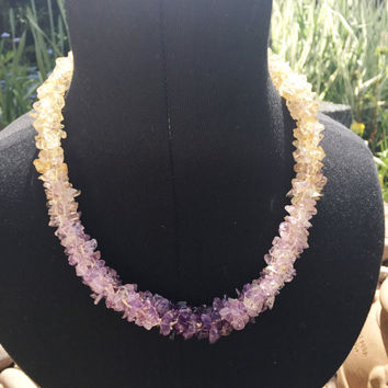 Amethyst, Ametrine and Citrine Gemstone Necklace