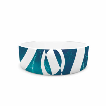 "Matt Eklund ""Storm"" Teal White Pet Bowl"