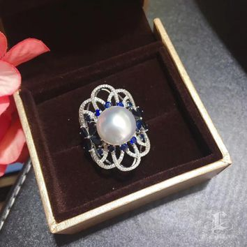 CUSTOMIZE | 12-13mm White South Sea Pearl Luxury Ring, 18k White Gold w/ Diamond - AAAA