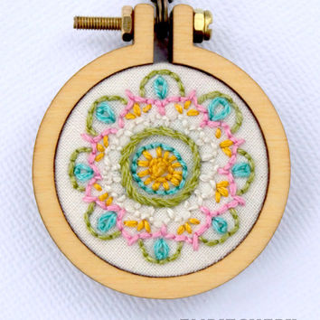 Mandala Necklace - Colorful Necklace - Embroidery Necklace - Hand Stitched - Nature Inspired Necklace - Boho Necklace - Wearable Art