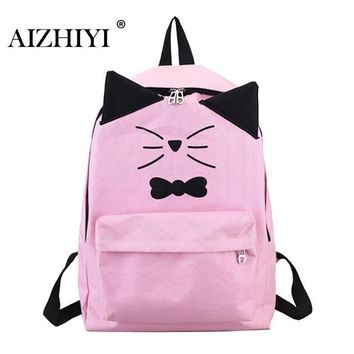 University College Backpack Lovely Cute Cartoon Embroidery Cat Printing  Canvas s For Teenage Girls  Casual  Sac MochilasAT_63_4