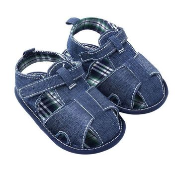DCCKL3Z Newest New Blue Jean Baby Shoes Summer Toddler First Walkers Shoes