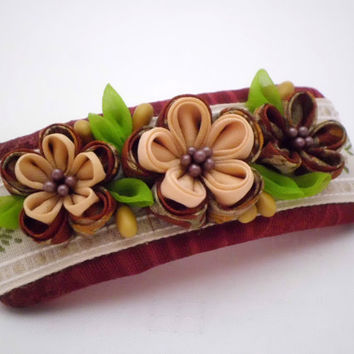 Handmade FRENCH BARRETTE, Brown cream flower bouquet, Kanzashi flower, Cottage chic, Upcycled silk, Ffabric flower hair clip, ooak