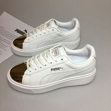 DCCKIJ2 Puma Rihanna 2 Casual Flatform Shoes White Golden