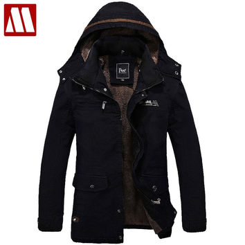 Men's Fur Lined Jacket Thick Long Warm Winter Fit Hooded Coat Overcoat men winter jackets mens cotton coats outwear