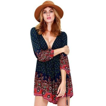 CREYL Summer Women Playsuits Boho Long Sleeve Vintage Printed Deep V Neck Backless Playsuit Sexy Beach Romper