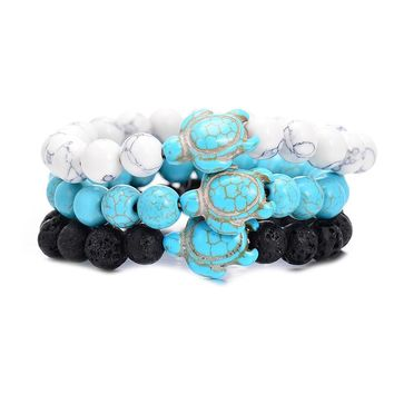Sea Turtle Beads Bracelets For Women Men Classic 8MM