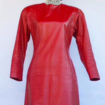 Vintage 80's Red Hot Genuine Leather Wiggle Dress. Size 6.