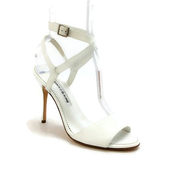 Llonicabi 105 White Patent Sandals by Manolo Blahnik