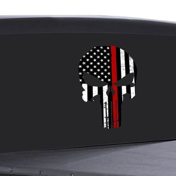 Punisher Skull Window Decal Thin red Line Vinyl Graphic Veterans Support FLAG
