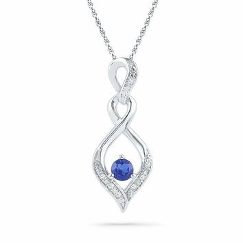 10kt White Gold Women's Round Lab-Created Blue Sapphire Solitaire Pendant .02 Cttw - FREE Shipping (US/CAN)