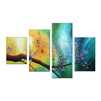 Flower Tree Harmony Canvas Wall Art Oil Painting