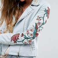 Glamorous Biker Jacket With Floral Bird Embroidery And Studwork at asos.com
