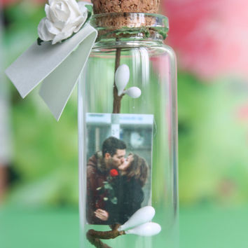 Tiny Photo in a bottle, Gift for Mens, Gift for Womens, Gift for Mom, Bottle with message, Bottle with Picture, Gift for boyfriend