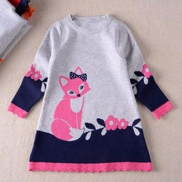 Girls Dresses Toddler Baby Kids Clothes Long Sleeve Fox Print Dress Sprint Autumn Kids Girl Party Wear disfraz princesa 21