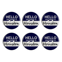 Houston Hello My Name Is Plastic Resin Button Set of 6