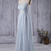 2016 Baby Blue Bridesmaid Dress, Backless Long Chiffon Wedding Dress with Sequin Beading, Spaghetti Straps Prom Dress Floor Length (L046)