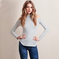 Black And White Stripes Cutout Shoulder Long Sleeves Slim Fit Shirt
