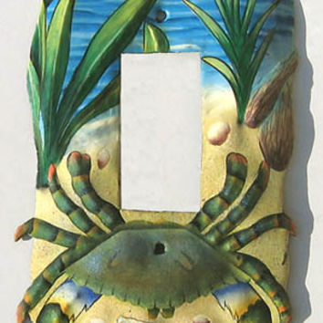 Light Switchplate Cover - Single Rocker Style - Hand Painted Metal Nautical Blue Crab- Haitian Steel Drum Art SR-1141-1