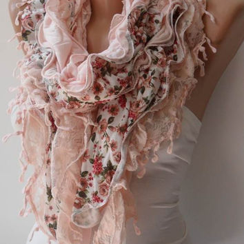 Salmon Lace and Cotton Scarf -..Summer Colors