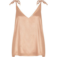Nude metallic tie strap cami top