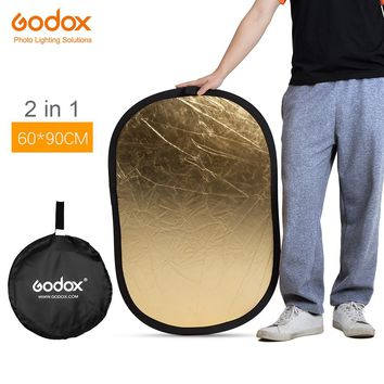GODOX 2in1 60 x 90cm Portable Collapsible Light Oval Photography Reflector for Studio 60 x 90cm