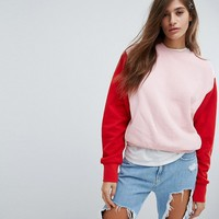 ASOS Boxy Sweatshirt in Colourblock at asos.com