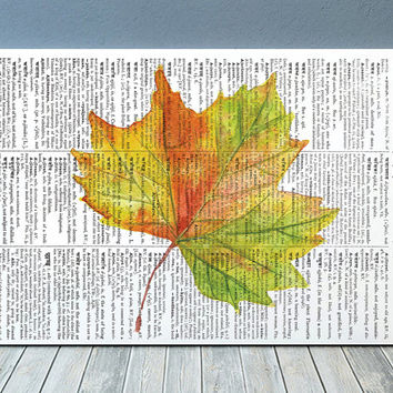 Fall leaf decor Leaf poster Autumn print Dictionary print RTA1951