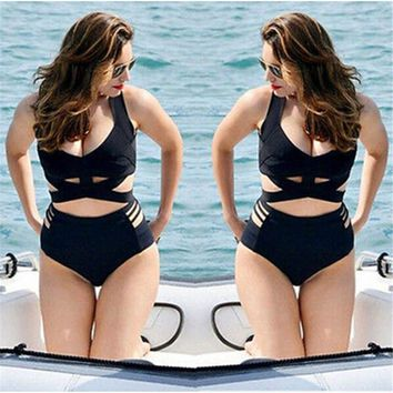 Push-up Padded Bra Swimwear Swimsuit High Waist Bikini Set Plus Size