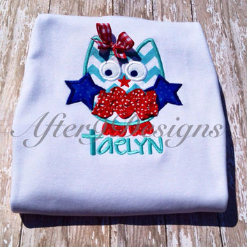 Girl patriotic owl with bow applique shirt 4th by AfterNineDesigns