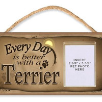 "Border Terrier ""Every Day is Better With a Terrier"" Sign Features Clear Pocket to Insert Your Dogs Photo - includes Double Bonus - Novelty Man's Best Friend 9 Dollar Bill and ""Thanks a Million"" Million Dollar Bill"