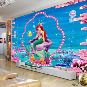 kids room 3d photo wallpaper custom mural non-woven wall sticker mermaid sea sofa TV background painting 3d wall mural wallpaper