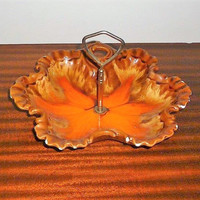 Vintage 1960s Drip Glaze Candy Dish - Light Brown and Light Orange Starfish Shaped Bowl with Metal Handle - Matte Base / Retro Bowl