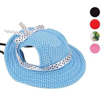 PEAP78W 2017 Pet Hat With Ear Holes Bowknot Mesh Breathable Dog Sunscreen Casual Baseball Cap Dogs Beach Hiking Pets Products E2S