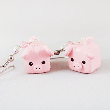 Polymer Clay Pink Pig Earrings
