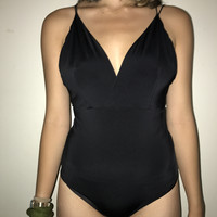 smooth black leotard